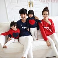 韩版秋冬装亲子装卫衣红色圣诞爱心刺绣一家四口男女童装母子