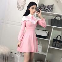 2018春季新款日韩系甜美风时尚软妹显瘦收腰百褶学院风连衣裙