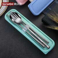 304不锈钢筷子勺子套装可爱学生家用便携餐具三件套简约