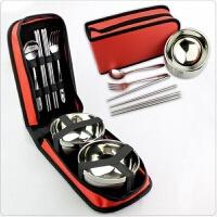 旅行便携式折叠餐具野炊不锈钢饭盒碗筷子勺子套装快餐盒收纳包户外用品 单人套装 颜色随机