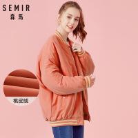 森马女棉服冬季时尚立领飞行员夹克女装字母刺绣韩版潮流外套