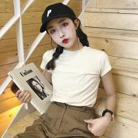 夏季女装韩版修身纯色基础短袖圆领T恤学生短打底衫上衣体恤