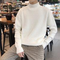 半高领毛衣男2018新款潮流秋冬季韩版针织衫简约纯色套头外套打底衫