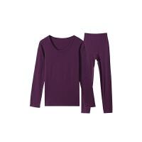 网易严选 女式色拉姆保暖内衣套装(上衣+裤子)紫红XS