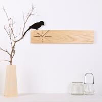 长方形钟表 挂钟客厅个性创意表 北欧原木方形钟实木小鸟装饰时钟 12英寸