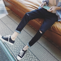 九分牛仔裤男小码26 27码韩版修身小脚裤青少年刺绣9分破洞牛子裤