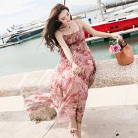 夏季连衣裙女装2018新款雪纺韩版时尚沙滩裙碎花吊带波西米亚长裙