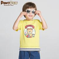 【3件3折 到手价:89】Pawinpaw卡通小熊童装夏款男童圆领短袖中小童棉质T恤可爱