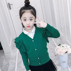 乌龟先森 毛衣外套 女童V领单排扣长袖上衣秋季新款韩版儿童时尚休闲舒适百搭中小童针织衫