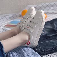 ins小白鞋女百搭韩版2018新款学生魔术贴板鞋皮面帆布鞋
