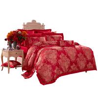 【限时秒杀】富安娜家纺 高档提花婚庆床上用品六件套涤粘提花床单被套
