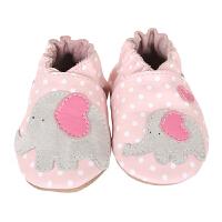 美国直邮/保税区发货 Robeez Little Peanut 女童软底皮质学步鞋小象贴花 粉色 海外购