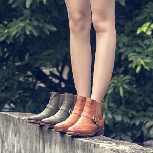 玛菲玛图英伦布洛克短靴女春秋单靴小粗跟绿色切尔西靴2018新款平底皮靴子1788-1