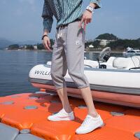 薄速干七分裤男韩版潮流修身帅气青少年短裤夏季学生7六分裤子