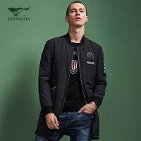 七匹狼旗下圣沃斯系列冬季 青年男士时尚休闲中长款羽绒外套