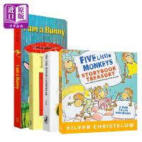 经典儿童纸板书4册 英文原版 我是一只兔子 亲爱的动物园 好饿的毛毛虫 五只小猴子 艾瑞卡尔 名家绘本