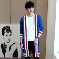 新款2018韩版男士修身中长款拼色针织开衫英伦无扣新品男毛衣开衫