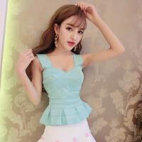 日韩甜美糖果色修身显瘦性感吊带2018新款背心夜店名媛公主上衣