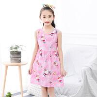 儿童睡衣 女童薄款宽松吊带裙中长款无袖睡裙子夏季新款时尚韩版中大童连衣裙公主裙