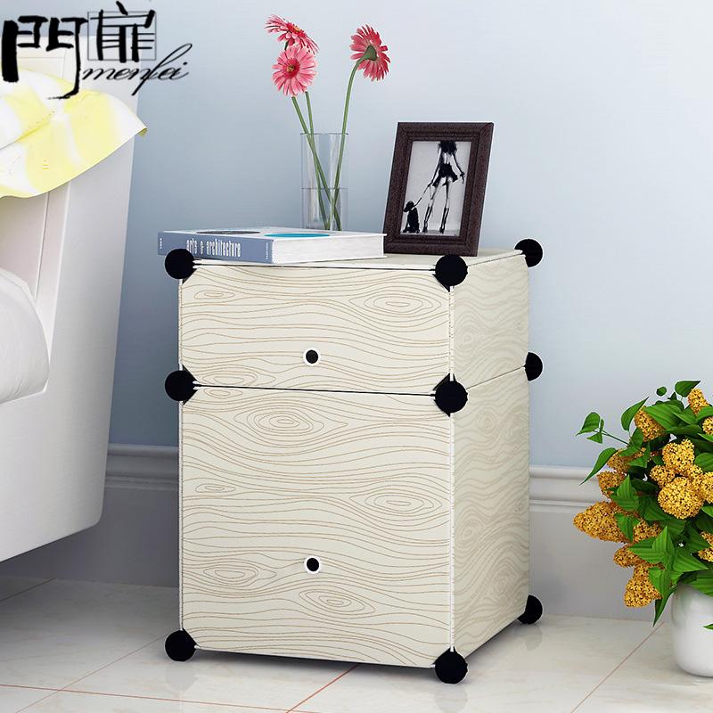 门扉 床头柜 简易仿木纹塑料收纳柜卧室床边柜简约现代小柜子简易组装柜 居家必备 小身材大容量