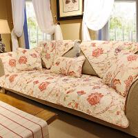 美式小碎花春夏全棉沙发垫布艺防滑皮沙发巾靠背垫组合沙发罩