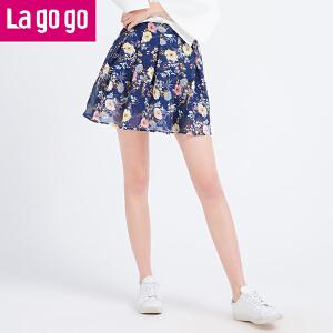 【商场同款】Lagogo/拉谷谷2017年夏季新款时尚百搭印花半裙GABB103C35