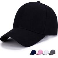 帽子女春韩版男潮人纯黑色鸭舌帽平檐棒球帽百搭光板嘻哈遮阳帽 可调节