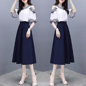 安妮纯2019新款女装夏气质温柔超仙两件套短袖衬衫女收腰长裙漏肩连衣裙a字套装裙