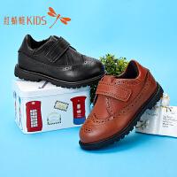 红蜻蜓童鞋皮鞋春秋新款儿童皮鞋布洛克真皮休闲鞋单鞋学生鞋