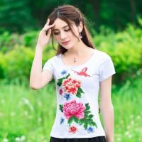 民族风女装上衣夏季新款大码圆领针织棉刺绣花短袖T恤大码T恤