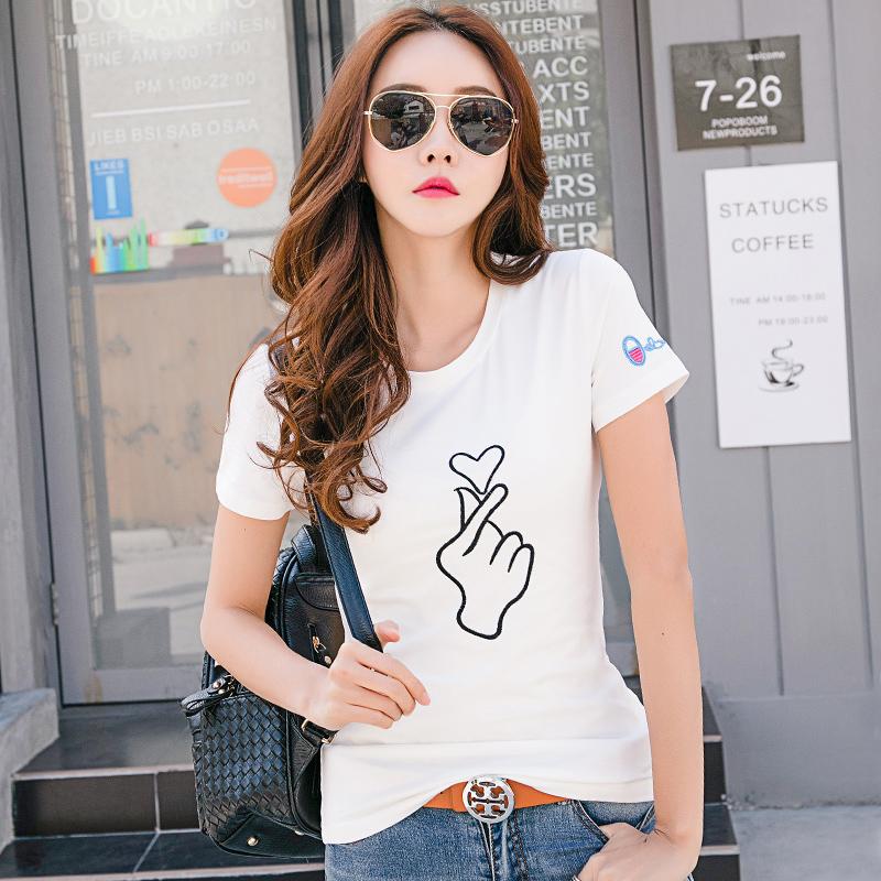 夏季新款半袖女韩版修身百搭显瘦白色短袖T恤女士刺绣打底衫