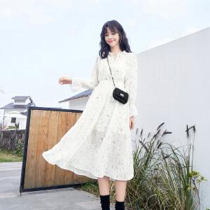 安妮纯2020春装新款两件套连衣裙女中长款喇叭袖白色印花裙子