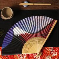 竹扇骨纸扇面折扇 和风日式樱花折叠扇子夏季古风道具女