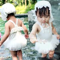 婴儿泳衣女童连体游泳衣儿童天使翅膀女孩小宝宝公主网纱裙泳装