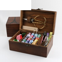 针线盒套装针线包家用韩国缝纫线针线收纳盒十字绣工具实木针线盒