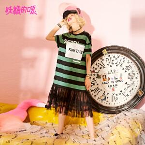 妖精的口袋t恤裙新款sukol裙蕾丝学生短袖chic连衣裙女