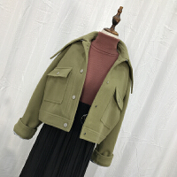 L@26 秋冬时尚气质毛呢上衣夹克韩版单排扣纯色气质呢子短外套