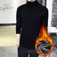男士修身纯色高领毛衣加厚保暖针织衫紧身长袖韩版打底衫冬季黑色 (加绒)