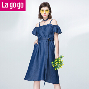 Lagogo2017夏季新款纯蓝色一字领露肩高腰牛仔连衣裙女收腰显瘦