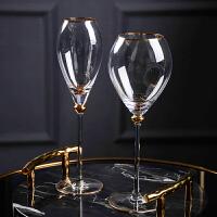 描金红酒杯香槟杯金边高脚酒杯样板房间会所餐桌酒杯葡萄酒杯