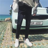 秋冬日系复古男士牛仔裤韩版修身小脚裤青少年显瘦休闲长裤潮
