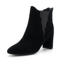 迪芙斯(D:FUSE)冬季绒面羊皮革荷叶边优雅女短靴 DF84116031