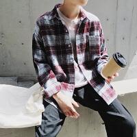 新款~秋季男格子休闲衬衫男宽松长袖衬衫 韩版格子衬衫潮