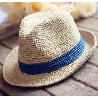 特细拉菲草帽子韩版礼帽男女出游海边遮阳防晒沙滩帽太阳帽爵士帽 可调节