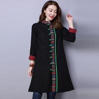 棉麻风衣女秋装新款民族风女装长袖加厚中长款中国风复古外套