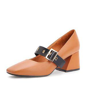Belle/百丽2017秋季新品牛皮玛丽珍鞋一字扣带复古方头女单鞋17066CQ7