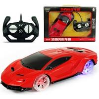 儿童礼物充电彩灯轮儿童遥控车玩具汽车模型漂移耐摔耐撞赛车跑车男孩玩具儿童礼物 兰博 红色 彩灯轮款