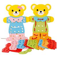 儿童智力小熊换衣服男女孩宝宝立体拼图积木玩具2-3-4岁礼物