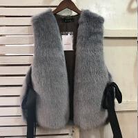 2018秋冬新款韩版时尚皮草马甲短款女士仿狐狸毛修身显瘦毛毛外套 均码