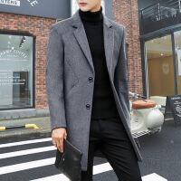 风衣男韩版修身中长款外套2018新款潮流羊毛呢子大衣男士秋冬季